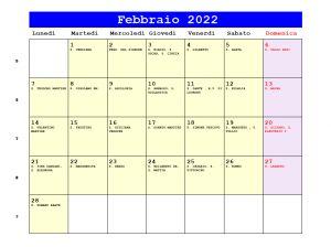 Calendario da stampare - Febbraio 2022