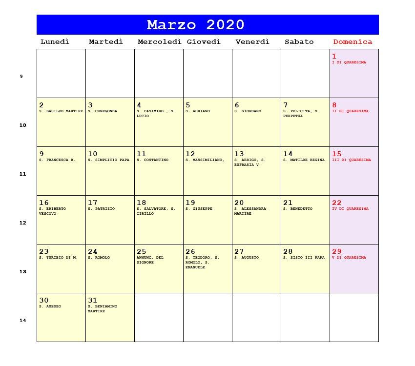 Calendario Marzo 2020.Calendario Marzo 2020 Con Santi E Fasi Lunari Quaresima
