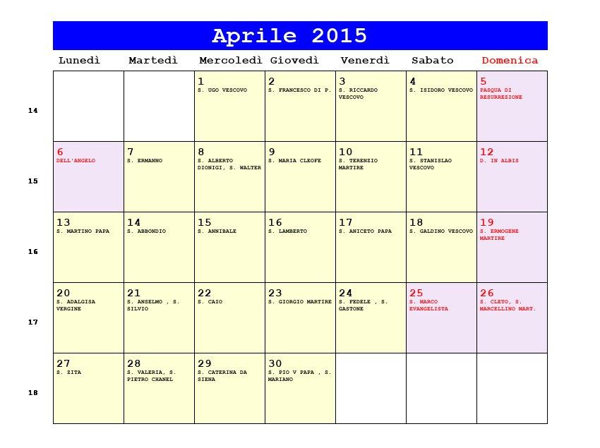 Calendario Anno 2015.Calendario Aprile 2015 Pdf Data Di Pasqua Festa Della