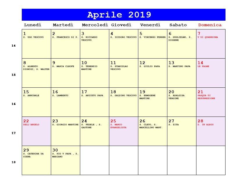 Calendario Aprile 2020 Con Santi.Calendario Aprile 2019 Con Santi E Fasi Lunari Pasqua