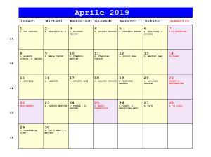 Calendario da stampare - Aprile 2019