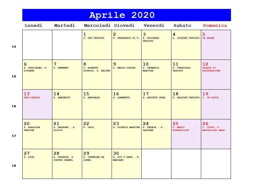 Calendario Aprile 2020 Con Santi.Calendario Aprile 2020 Con Santi E Fasi Lunari Pasqua