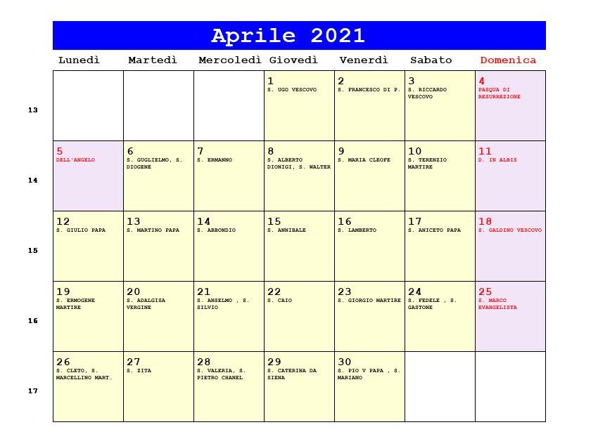 Calendario Aprile 2021   Con santi e fasi lunari   Pasqua