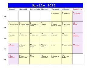 Calendario da stampare - Aprile 2022