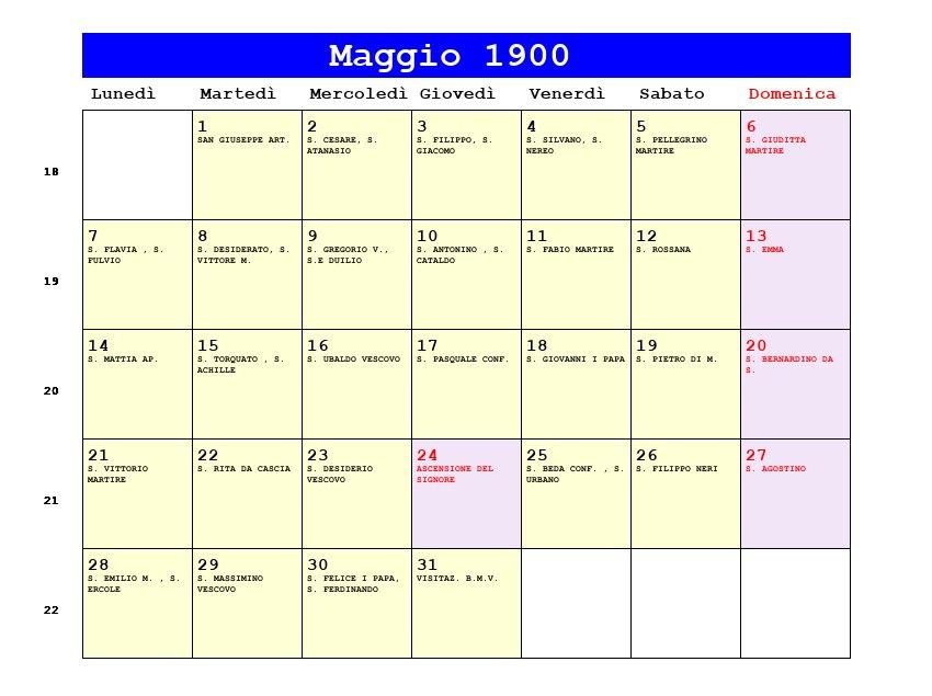 Calendario 1900.Calendario Maggio 1900 Pdf Ascensione Eclisse Di Sole