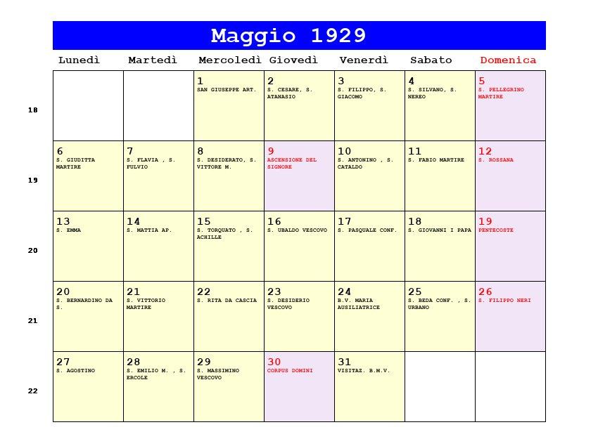 Calendario 1929.Calendario Maggio 1929 Pdf Ascensione Pentecoste Corpus