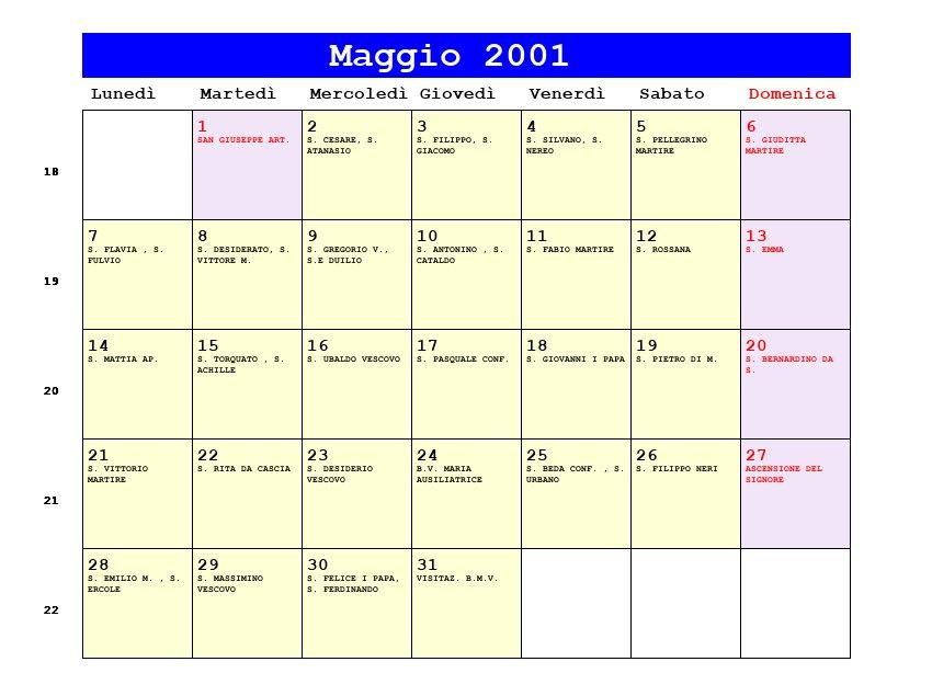 Calendario 2001.Calendario Maggio 2001 Con Santi E Fasi Lunari Ascensione