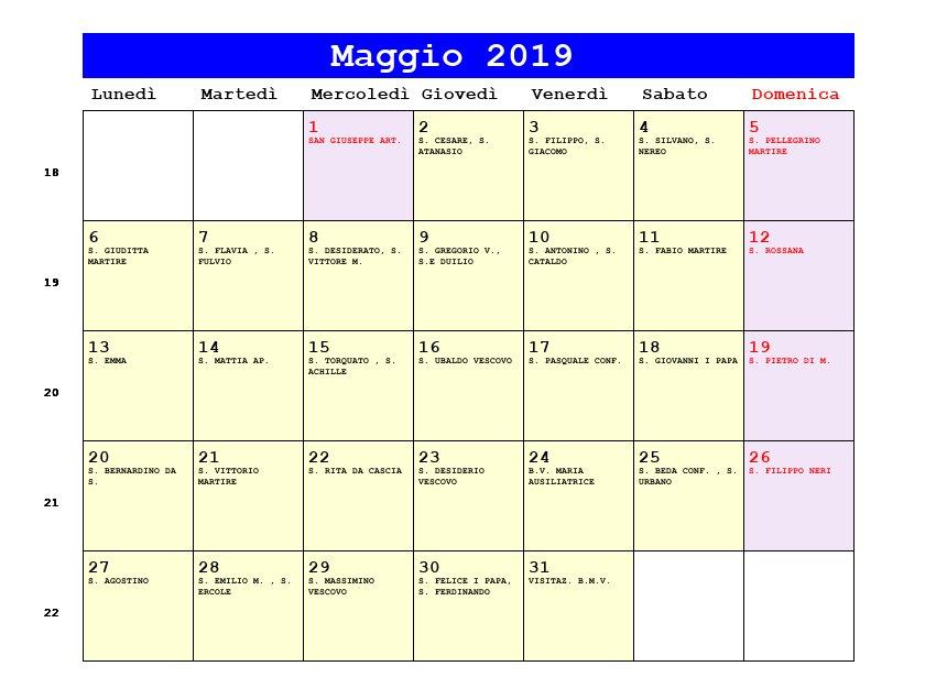 Calendario Religioso.Calendario Maggio 2019 Con Santi E Fasi Lunari Festa