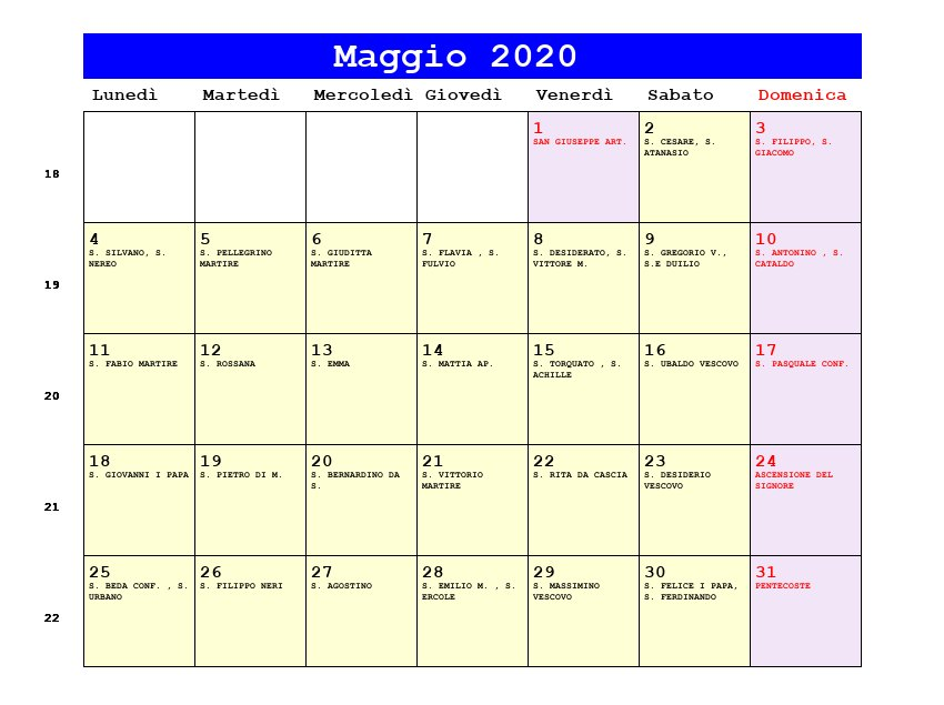 Calendario Festivita Germania 2020.Calendario Maggio 2020 Pdf Ascensione Pentecoste Festa