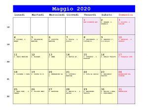 Calendario da stampare - Maggio 2020