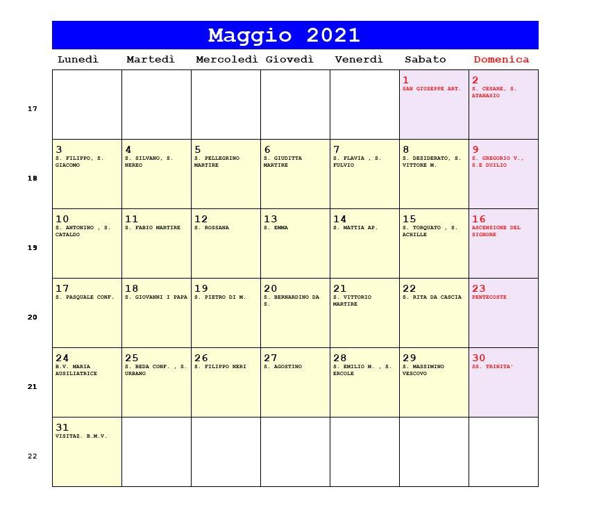 Calendario Maggio 2021   Con santi e fasi lunari   Ascensione