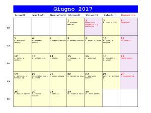 Calendario da stampare - Giugno 2017
