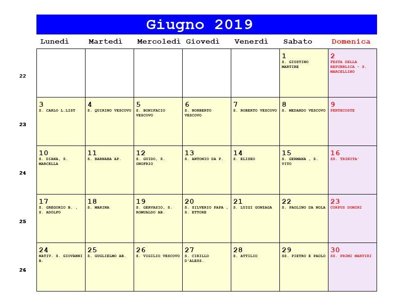 Calendario Mese Giugno.Calendario Giugno 2019 Con Santi E Fasi Lunari Corpus