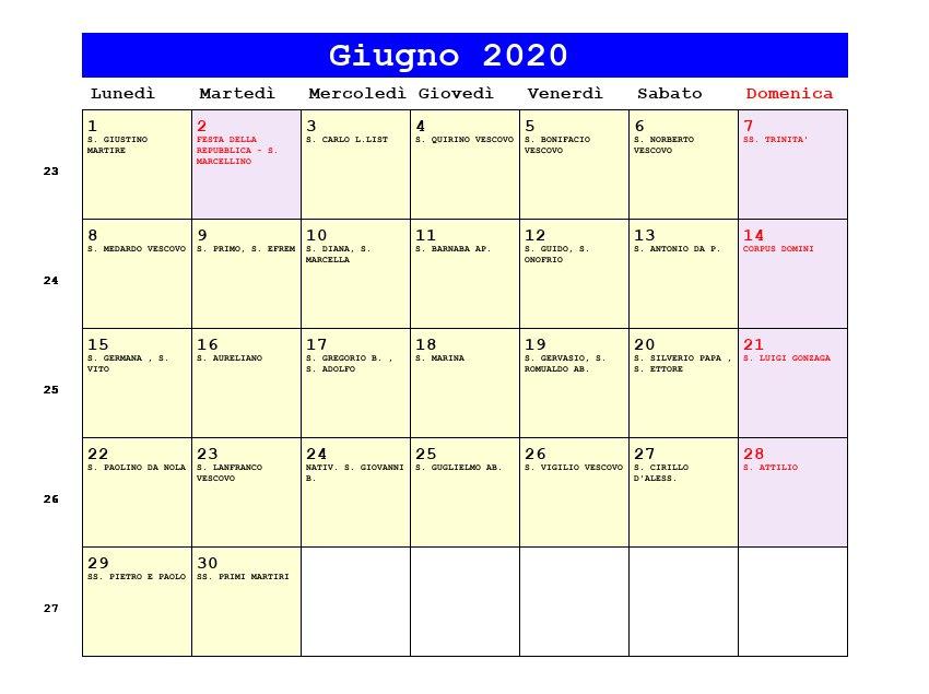 Calendario Maggio Giugno 2020.Calendario Giugno 2020 Pdf Corpus Domini Festa Della