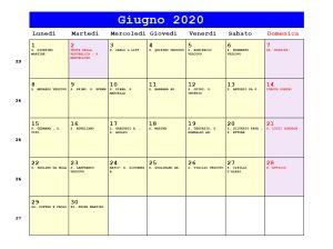 Calendario da stampare - Giugno 2020