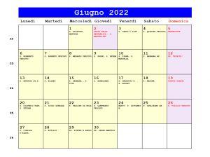 Calendario da stampare - Giugno 2022