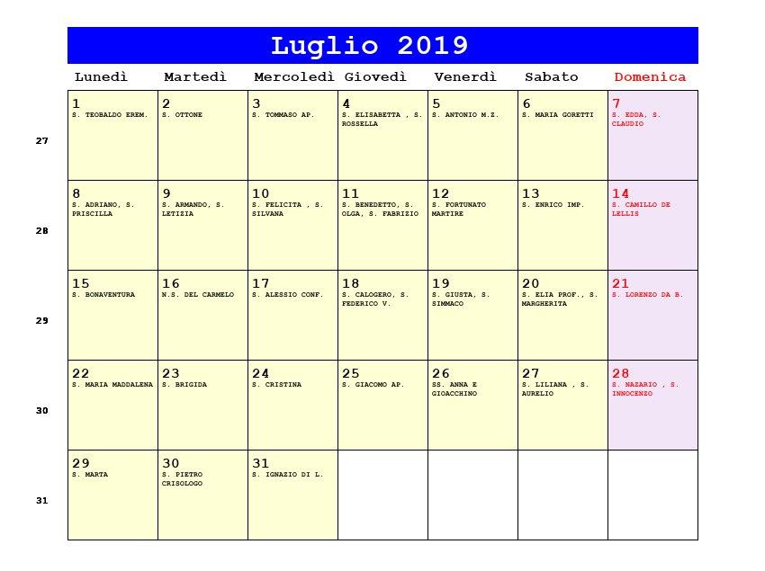 Calendario Di Luglio.Calendario Luglio 2019 Con Santi E Fasi Lunari