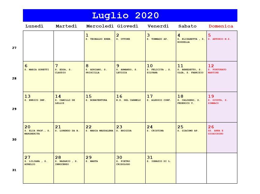 Calendario Luglio 2020 Da Stampare.Calendario Luglio 2020 Con Santi E Fasi Lunari