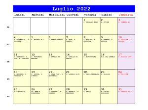 Calendario da stampare - Luglio 2022