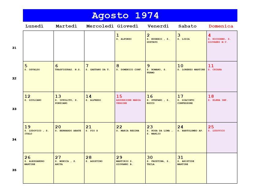 Calendario Anno 1974.Calendario Agosto 1974 Pdf