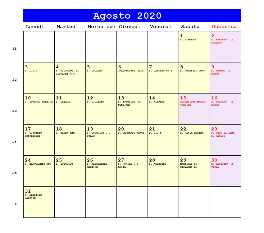 Calendario Gregoriano Santi.Calendario Giuliano 2020 Calendario 2020