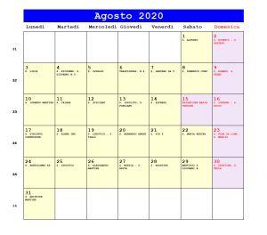 Calendario da stampare - Agosto 2020