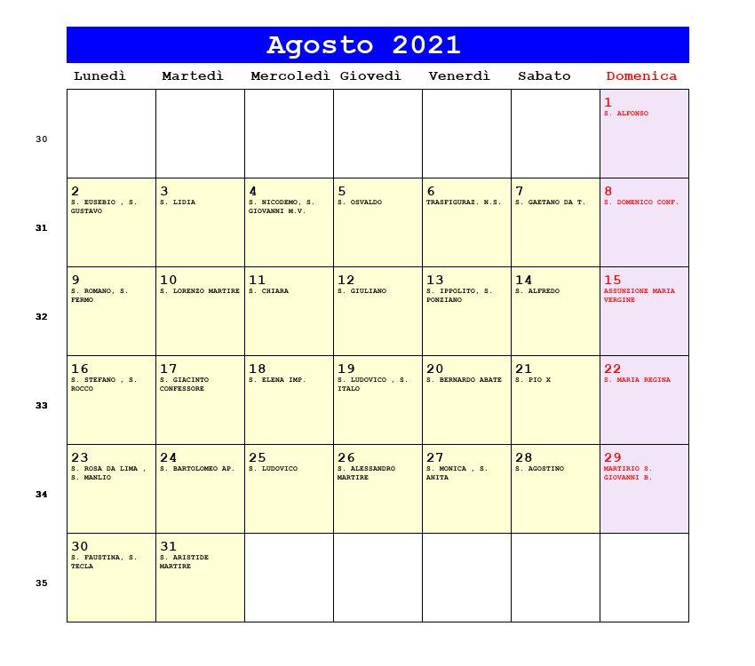 Calendario Agosto 2021   Con santi e fasi lunari   Assunzione