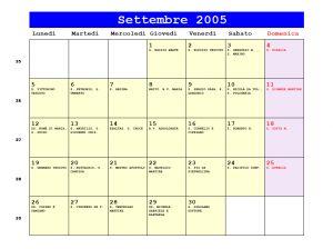 Calendario Lunare 2005.Calendario Settembre 2005 Con Santi E Fasi Lunari