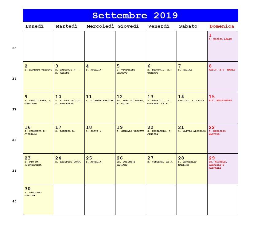 Calendario Da Settembre 2019 A Giugno 2020.Calendario Settembre 2019 Pdf Equinozio Di Autunno