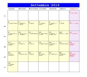 Calendario da stampare - Settembre 2019