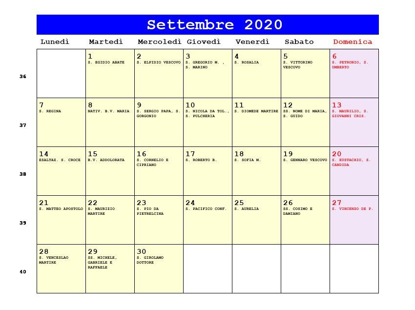 Calendario Con I Santi 2020.Calendario Settembre 2020 Con Santi Calendario 2020