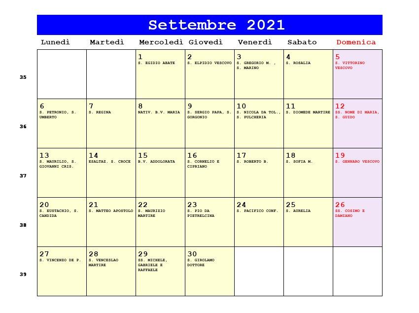 Calendario Settembre 2021   Con santi e fasi lunari   Equinozio di