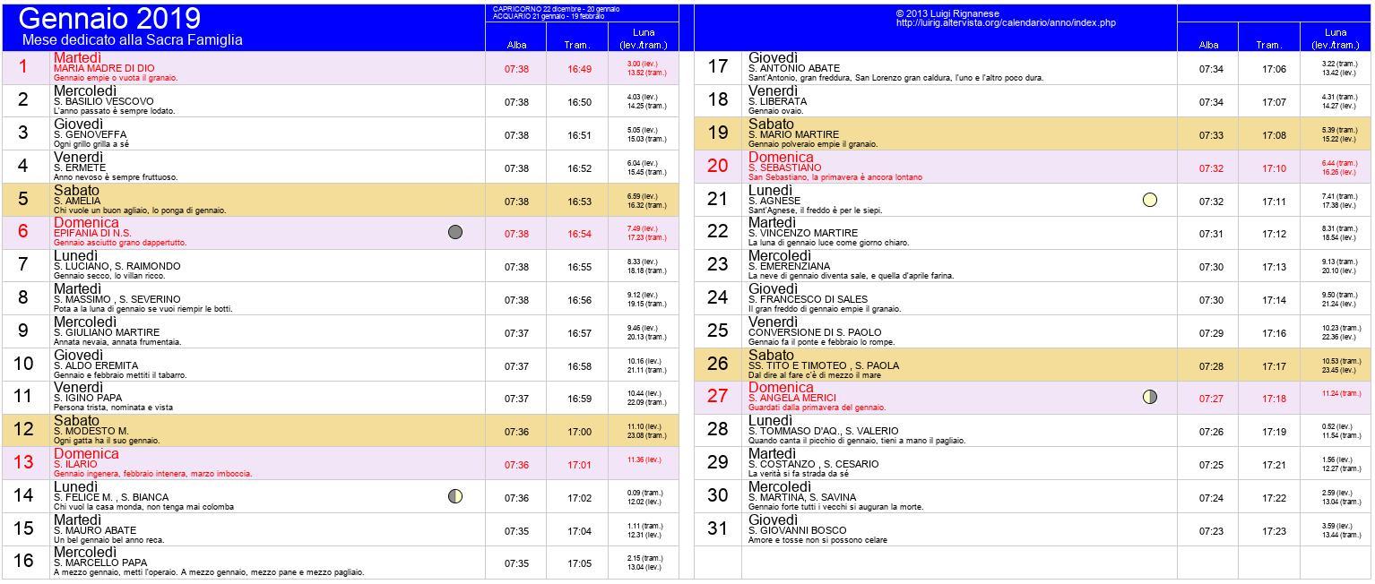 Calendario Alba Tramonto 2020.Calendario Gennaio 2019 Pdf Capodanno Epifania Eclisse