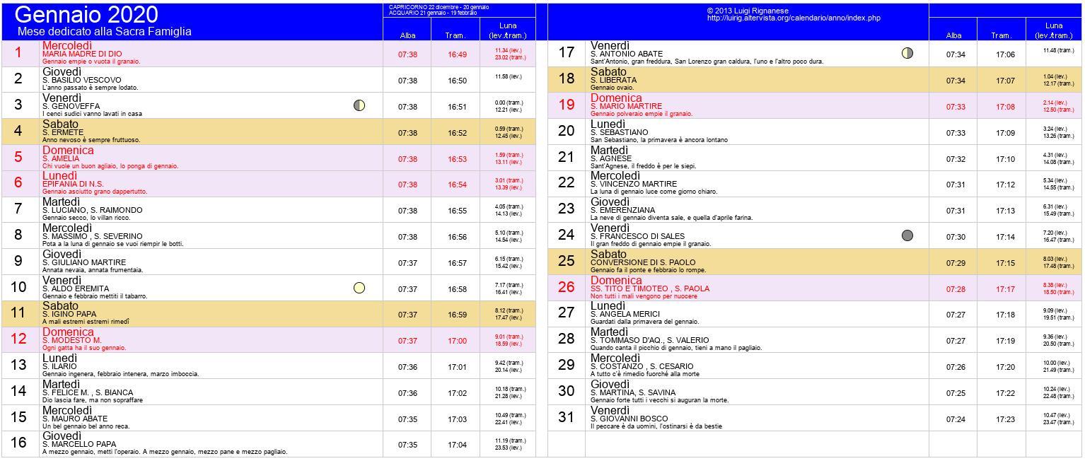 Calendario Gennaio 2020 Pdf.Calendario Gennaio 2020 Pdf Capodanno Epifania