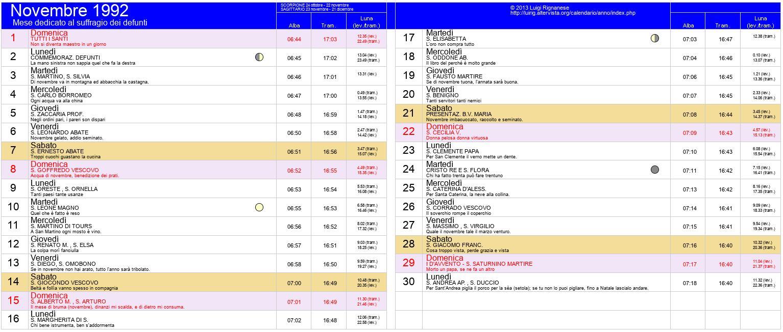 Calendario Anno 1992.Calendario 1992 Novembre Ikbenalles