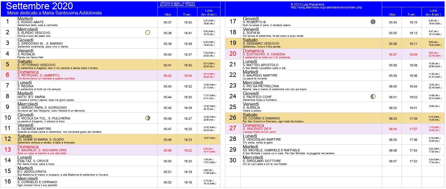 Calendario Settembre2020.Calendario Settembre 2020 Pdf Equinozio Di Autunno