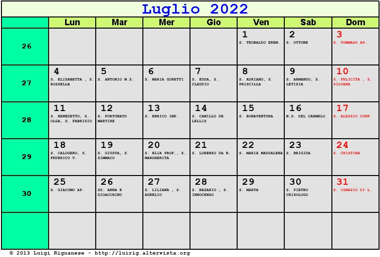 Calendario da stampare - Gennaio 2002