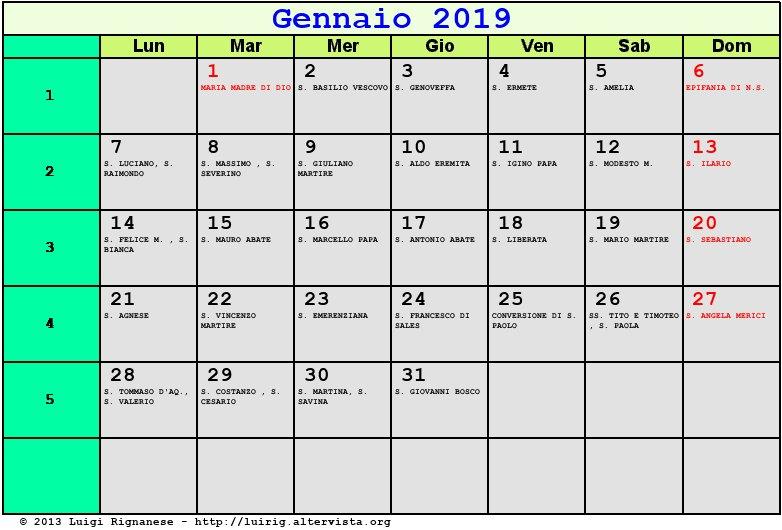 Calendario Annuale Da Stampare 2019.Calendario Gennaio 2019 Con Santi E Fasi Lunari