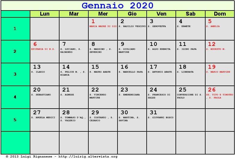 Calendario Gennaio 2020.Calendario Gennaio 2020 Con Santi E Fasi Lunari
