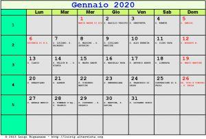 Calendario da stampare - Gennaio 2020