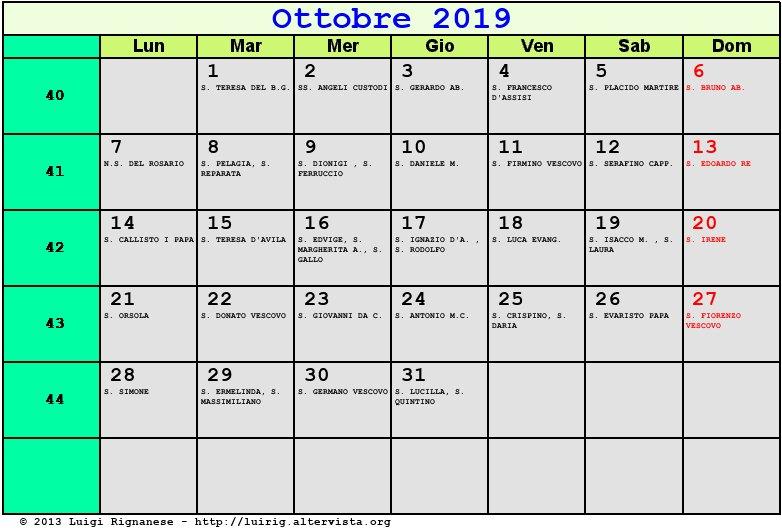 Santi Del Calendario.Calendario Ottobre 2019 Con Santi E Fasi Lunari Festa