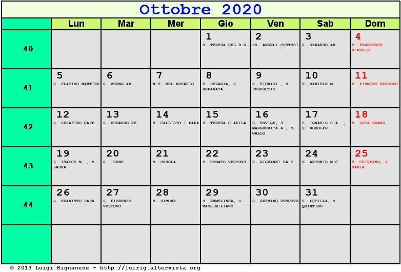 Calendario Lunare Ottobre 2020.Calendario Ottobre 2020 Con Santi E Fasi Lunari Festa