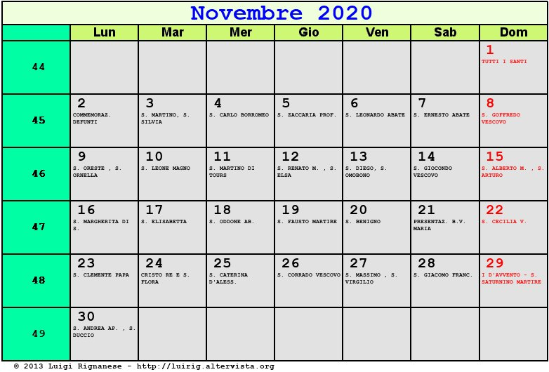 Calendario Pagamento Pensioni 2020.Calendario Di Novembre 2020 Calendario 2020