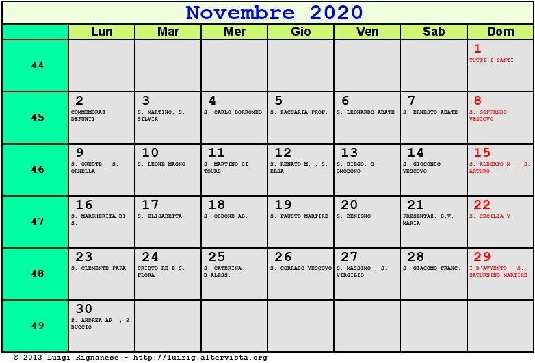 Novembre 2020 Calendario.Calendario Novembre 2020 Con Santi E Fasi Lunari Avvento