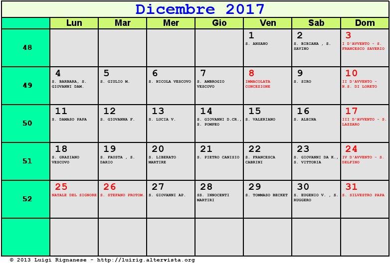Calendario Lunare Dicembre 2017.Calendario Dicembre 2017 Con Santi E Fasi Lunari Avvento