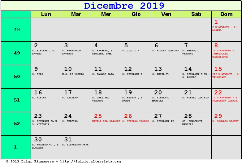 Calendario Dicembre 2020 Con Santi.Calendario Dicembre 2019 Con Santi E Fasi Lunari Avvento