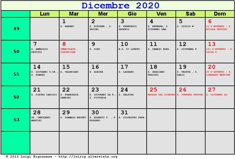 Calendario 2020 Con Le Settimane.Calendario Dicembre 2020 Da Stampare