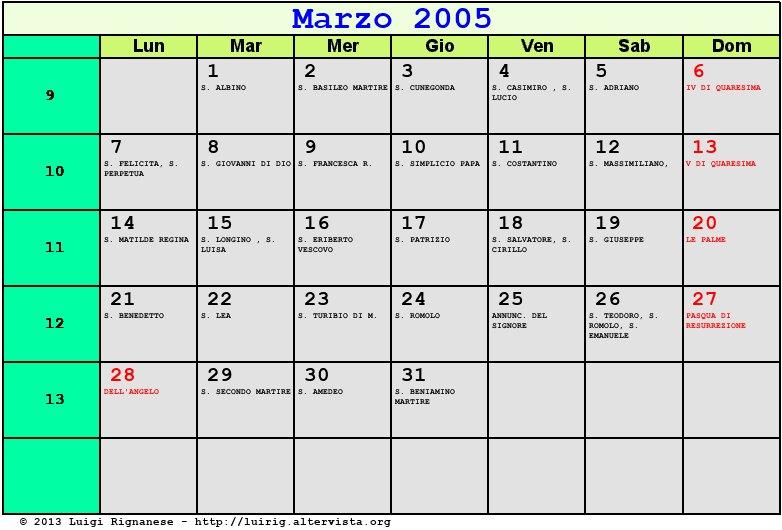 Calendario Lunare 2005.Calendario Marzo 2005 Con Santi E Fasi Lunari Pasqua