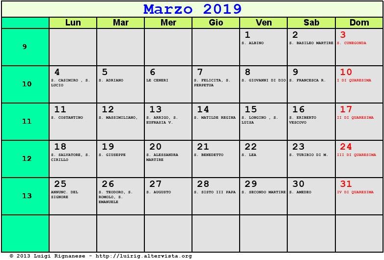 Calendario Di Marzo.Calendario Marzo 2019 Con Santi E Fasi Lunari Quaresima