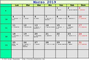 Calendario da stampare - Marzo 2019